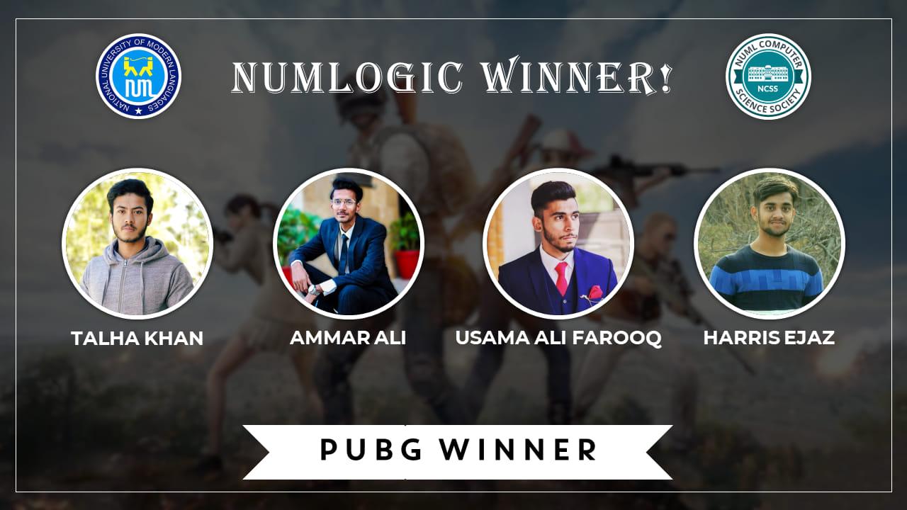 Winner of 'PUBG' for NUMLogic 2019.