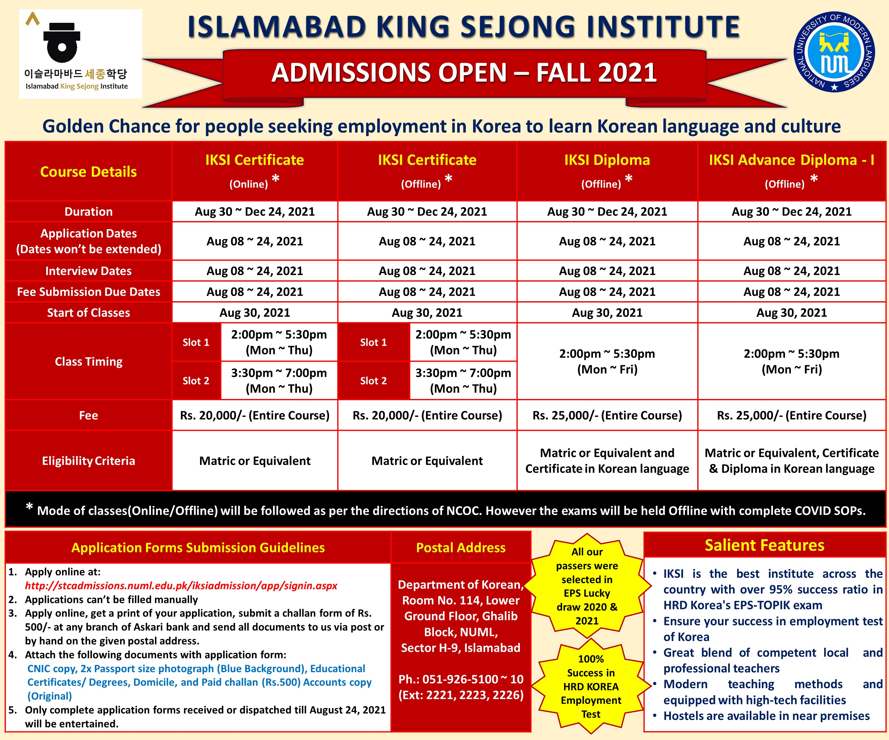 ISLAMABAD KING SEJONG INSTITUTE - FALL 2021 ADMISSION OPEN