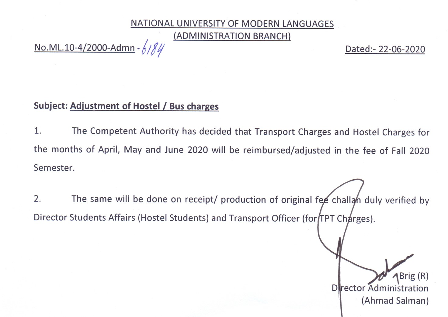Adjustment of Hostel / Bus charges
