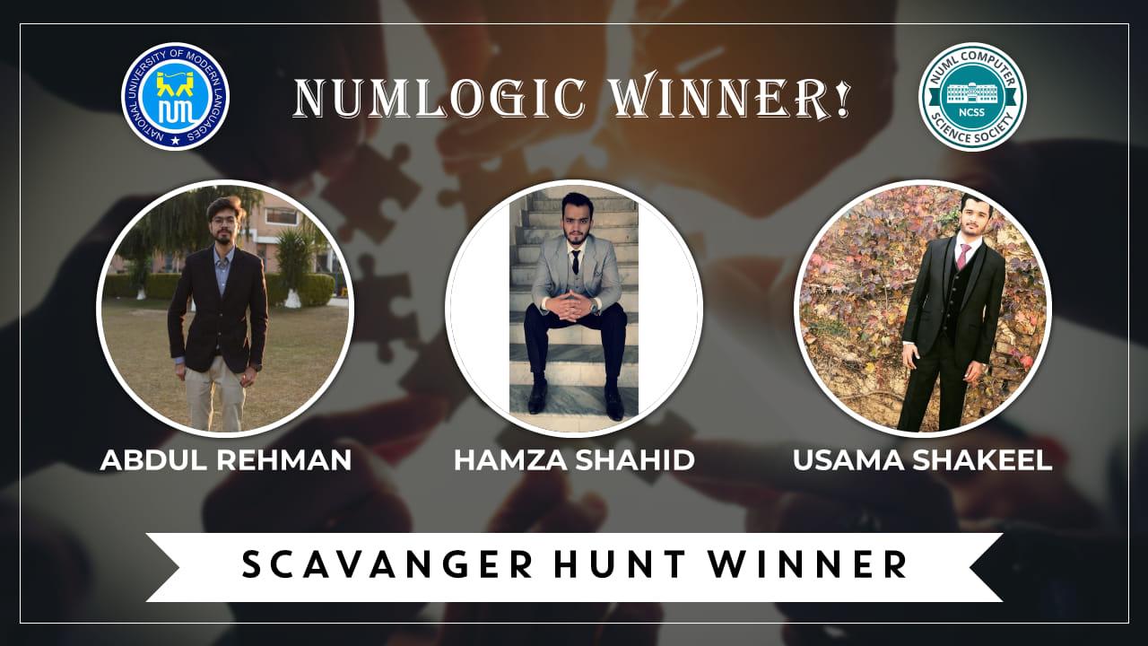 Winner of 'Scavenger Hunt' for NUMLogic 2019