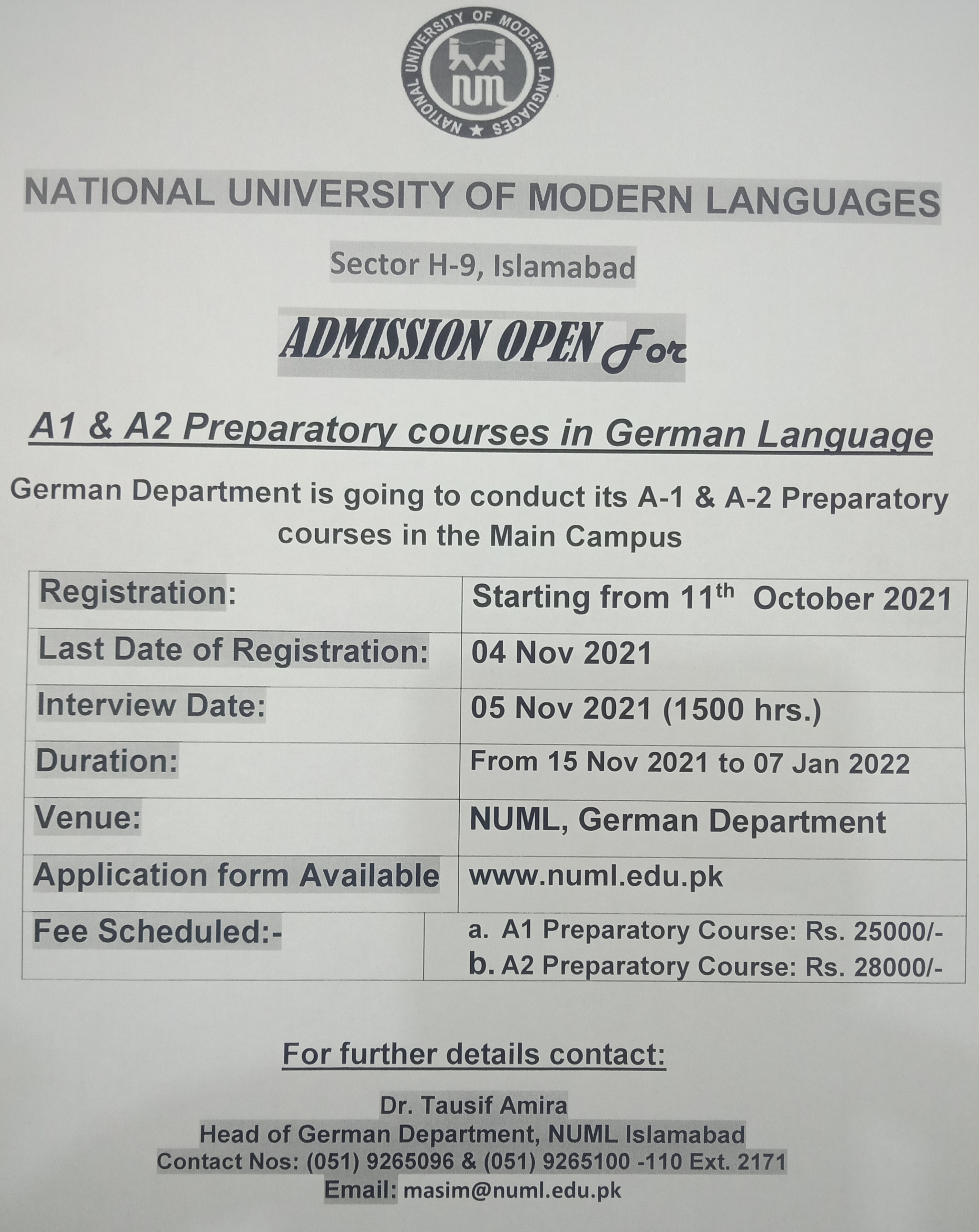 ADMISSION OPEN For A1, A2 Preparatory courses in German Language