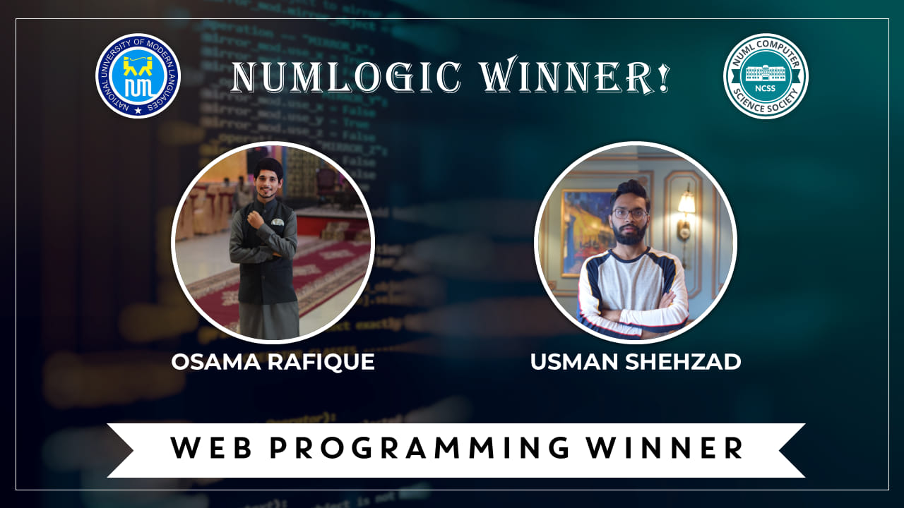 Winners of 'Web Programming' for NUMLogic 2019