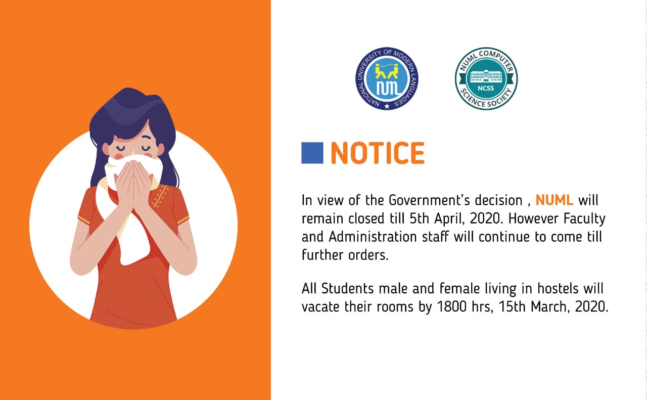 NUML will Remain Closed for 'Students' till 5th April 2020
