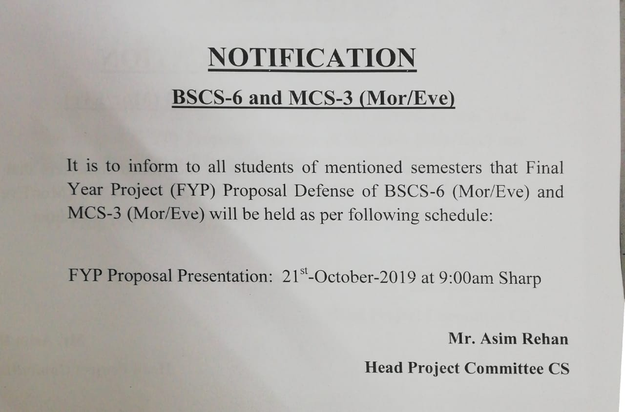 """Proposal Defense"" for 'Final Year Projects'"