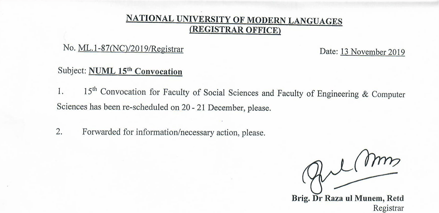 NUML 15th Convocation (Rescheduled)