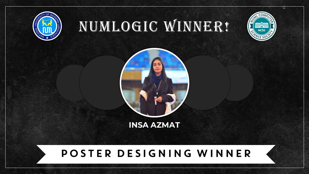 Winner of 'Poster Design' for NUMLogic 2019