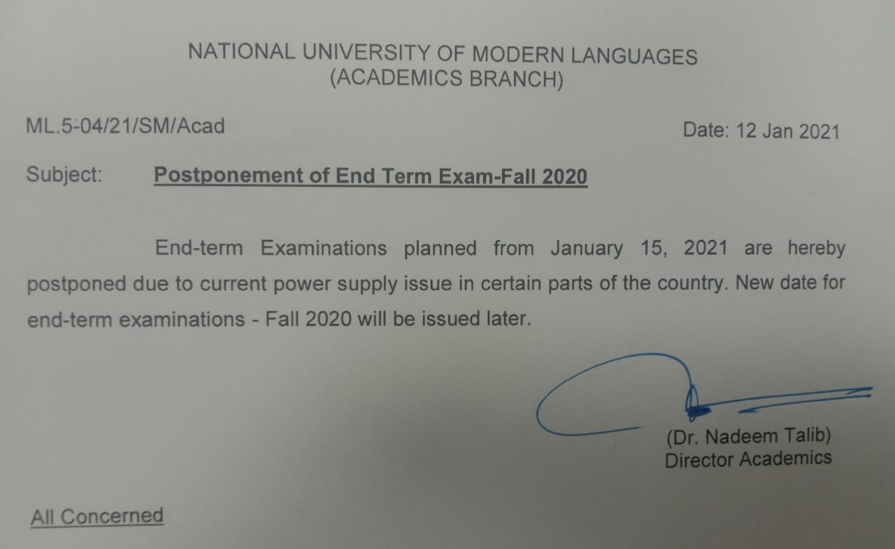 Postponement of End Term Exam-Fall 2020