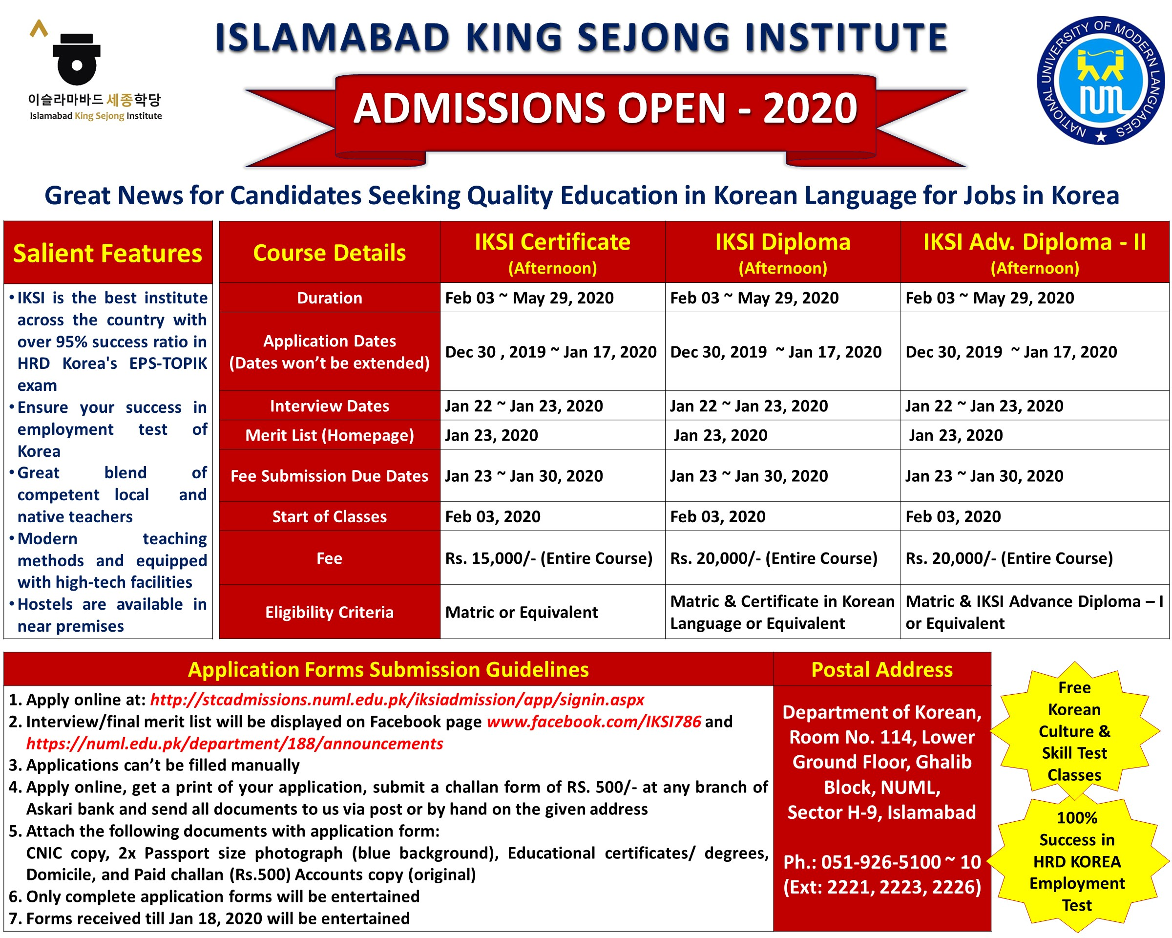 ISLAMABAD KING SEJONG INSTITUTE ADMISSIONS OPEN