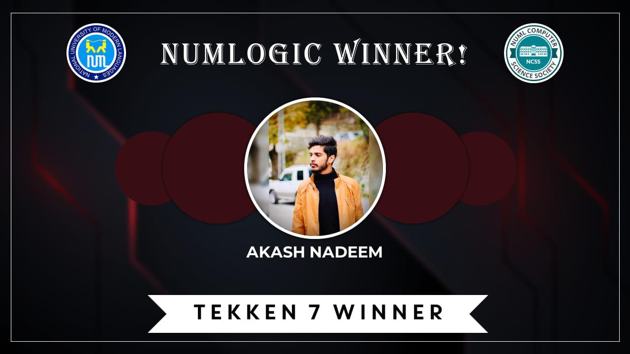 Winner of 'Tekken 7' for NUMLogic 2019