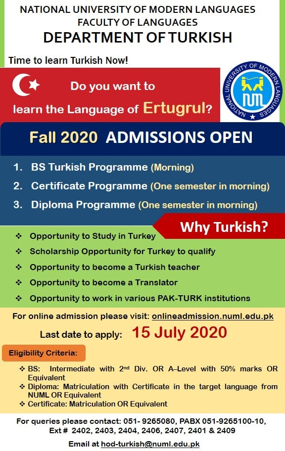 Fall 2020 Admissions in Department of Turkish