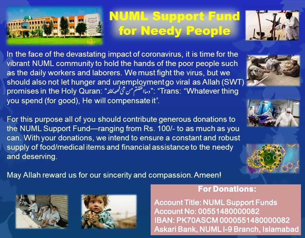 'NUML Support Fund' for Needy People
