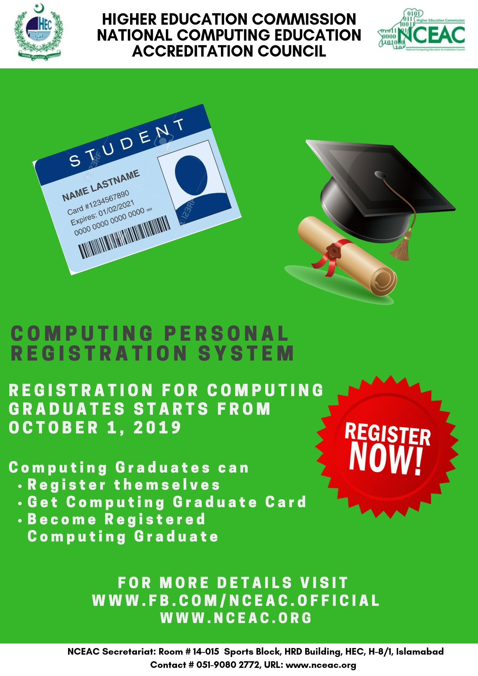 NCEAC Registration for CS Graduates