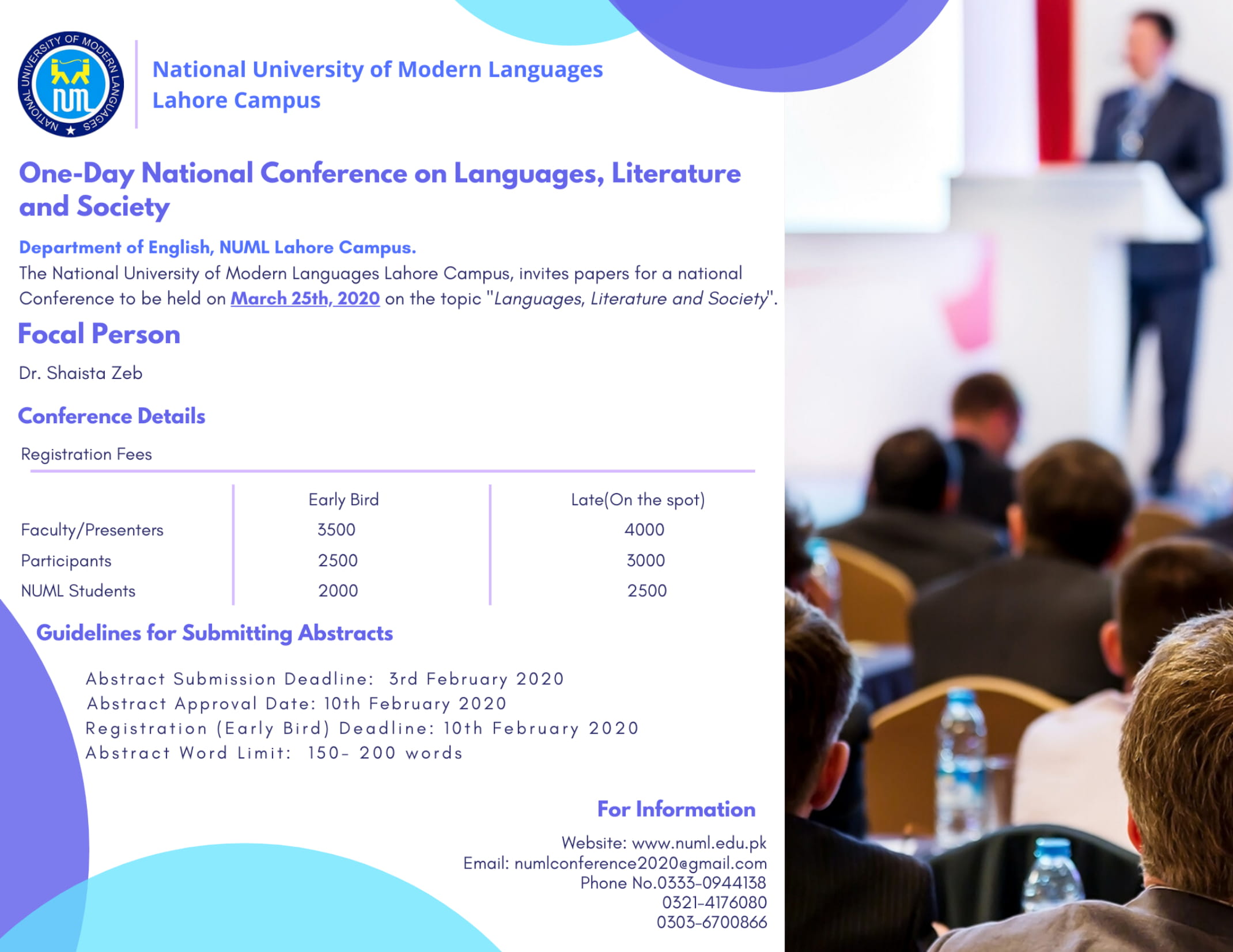 ONE DAY NATIONAL CONFERENCE ON LANGUAGE LITERATURE AND SOCIETY