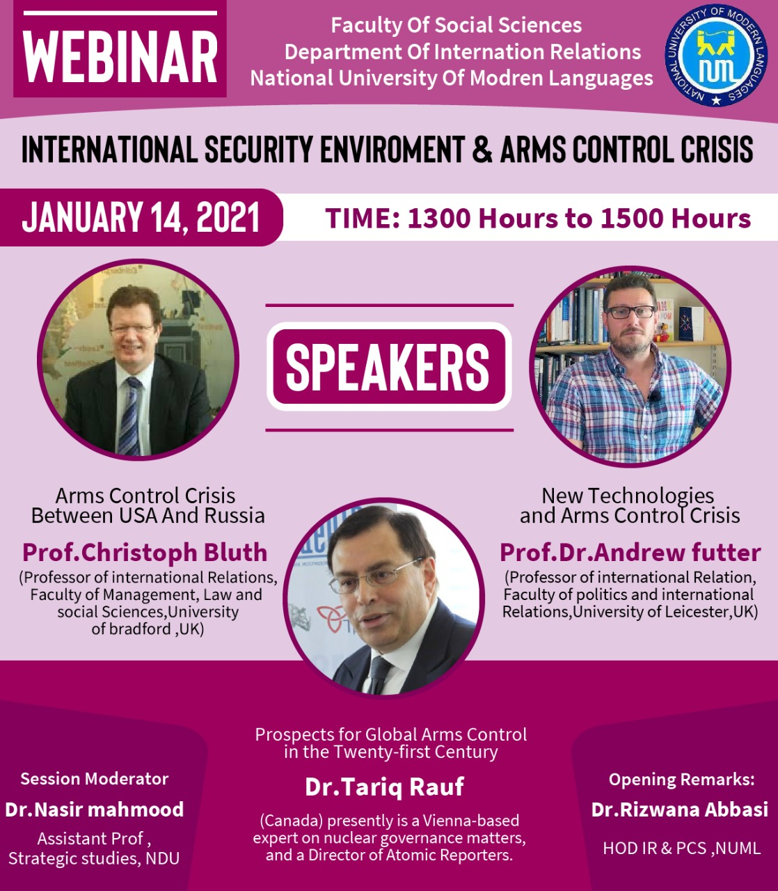 International Webinar on Contemporary  International Security Environment and Arms Control Crisis
